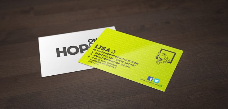 Business card design for Hop On! Shop. We put small detailing into the green on the back. We hope you all like them as much as we do. Check out our other projects at www.pigmental.co.uk
