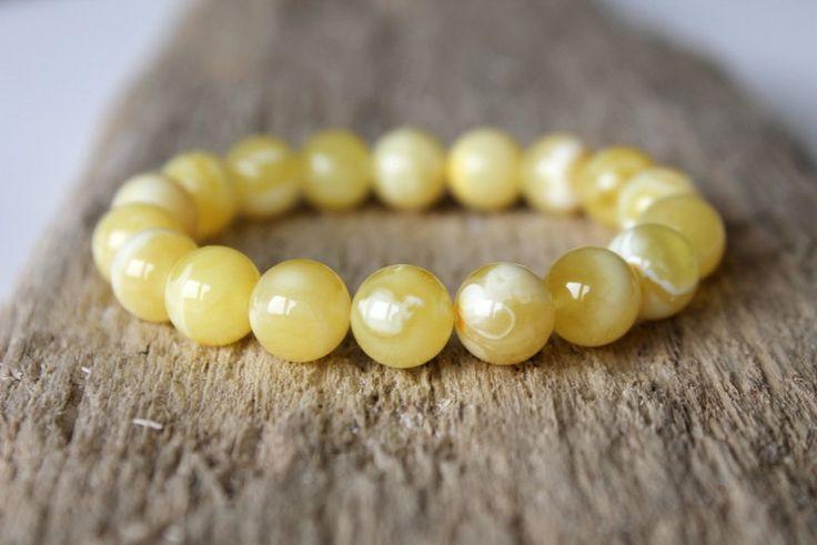 Baltic amber bracelet, white amber beads, round beads bracelet, Amber jewelry, elegant bracelet, royal amber, yellow amber bracelet, gift by AmberDesign8 on Etsy