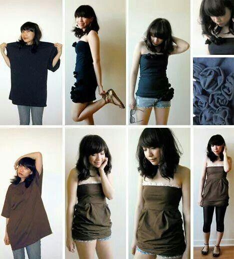 Turning men's shirt into dress
