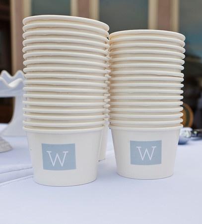Ice Cream cups with monogram. perfect for my ice cream sundae station ;)