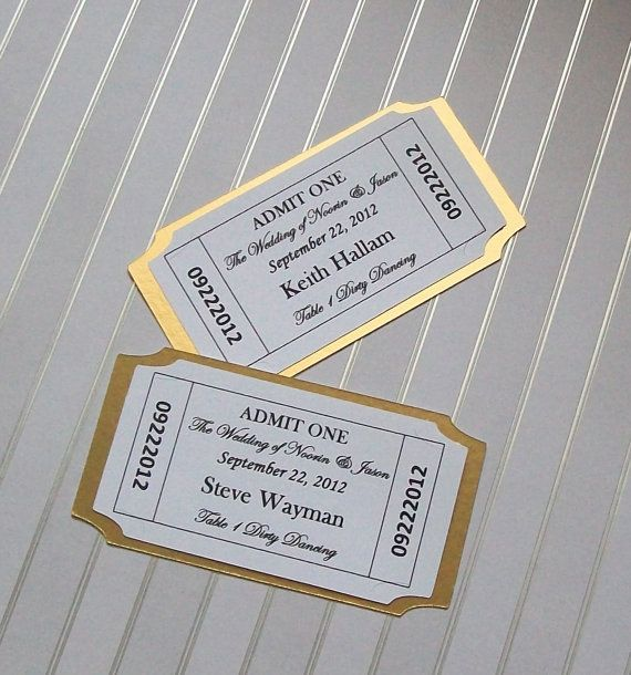 Movie Ticket  Place Card  Escort Card  Customized  by paperpixie, $1.00