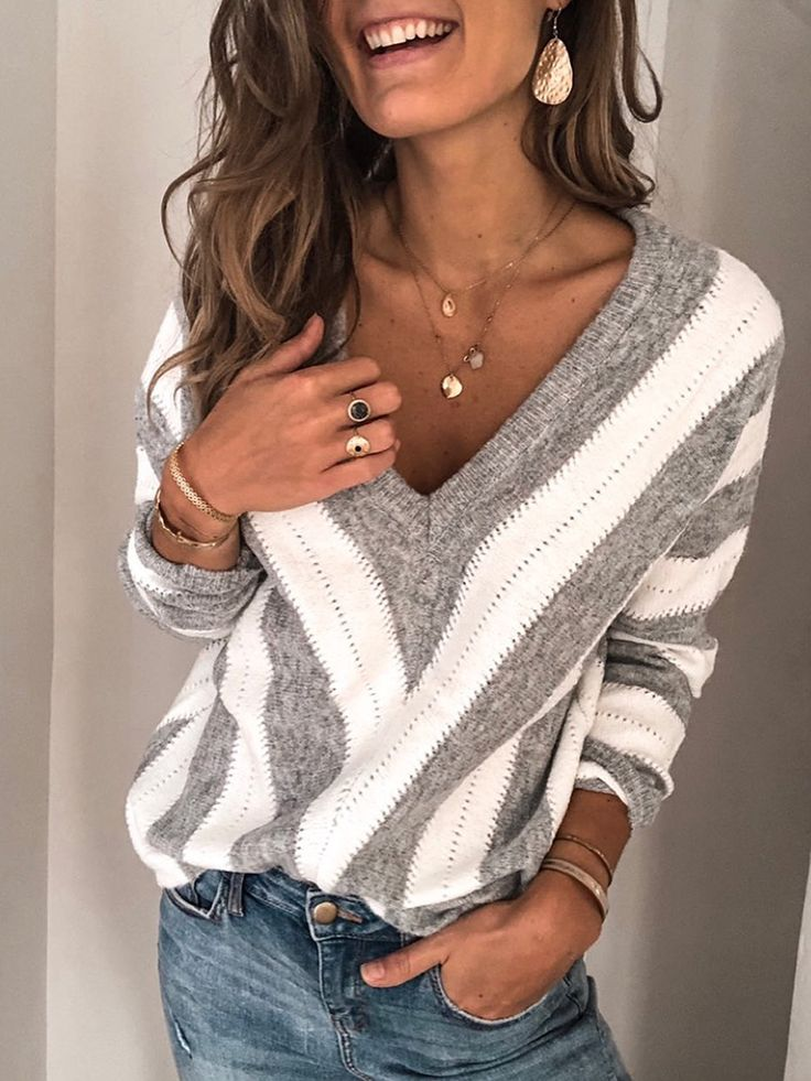 Casual V-neck Geometric Colorblock Long-sleeved Sweater Casual V-neck Geometric Colorblock Long-sleeved Sweater – Flookmiki