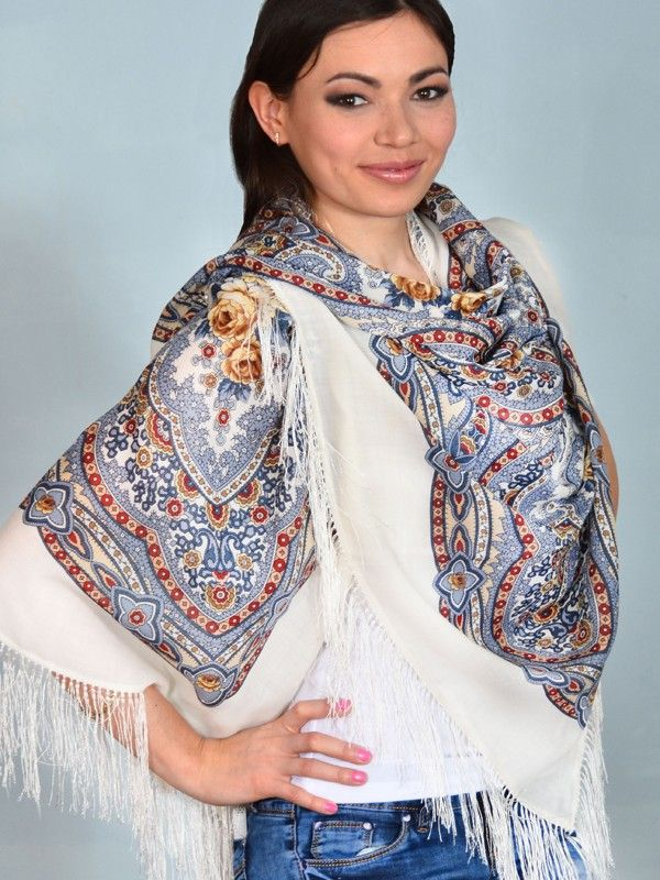 Lilac Fairy Pavlovo Posad Shawl - Pavlovo Posad shawls, made in a town just outside of Moscow, have long been symbols of traditional Russian culture