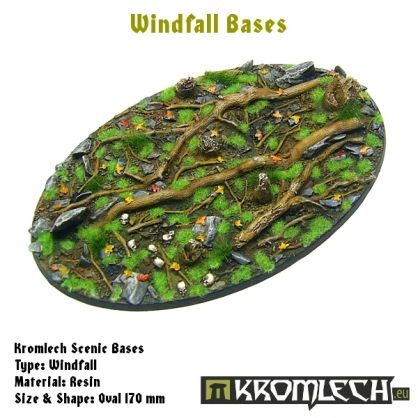 This set contains 1 oval 170 x 105 mm scenic base. Windfall theme.