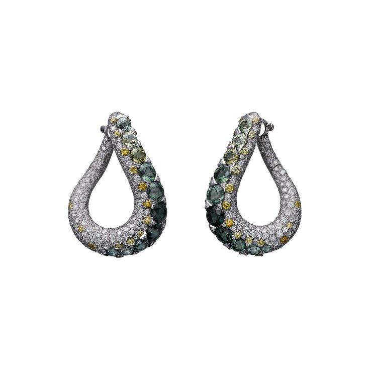 Earrings - white gold, coloured sapphires, yellow and white brilliant-cut diamonds.