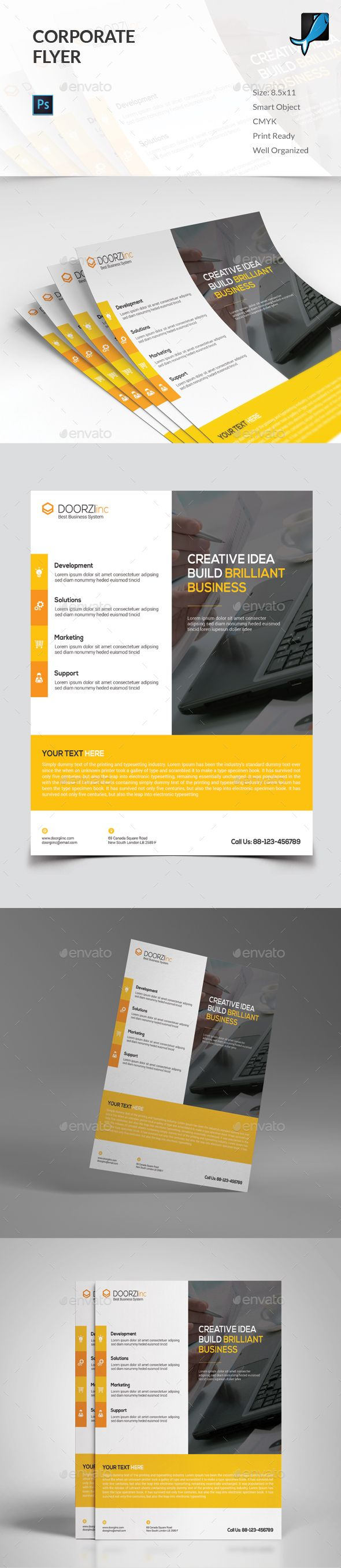 Corporate Flyer Template PSD #design Download: http://graphicriver.net/item/corporate-flyer/13485139?ref=ksioks