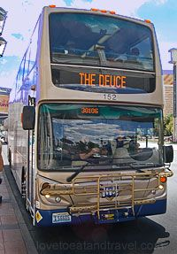 The Deuce Double Decker Bus - Las Vegas Strip website provides comprehensive information about the schedules, fares, route maps and photos of the buses. The Deuce is a city bus that travels from the Downtown - Fremont Street area to the south end on the Strip and back again.