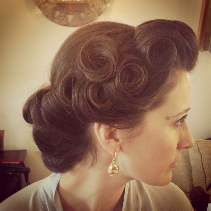 Pin curls, vintage hairstyle, up do, wedding occasion hair, curls