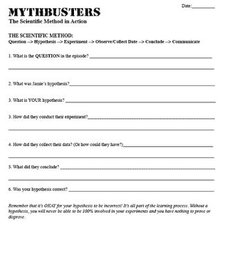 Printables Scientific Method Worksheet High School 1000 ideas about scientific method on pinterest teaching the cool mythbusters video with activity to help teach method