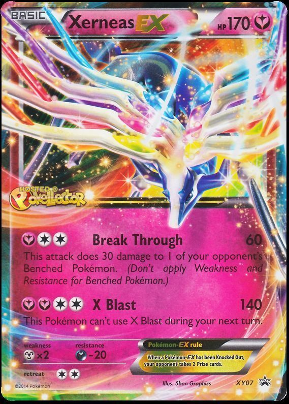 This Pokemon looks as though it is prancing right out of the card with a rainbow background. The Xerneas Ex card features the Break Through attack, which does 60 damage to an active Pokemon and 30 damage to a benched one. Since it is only weak to rarely used steel types, it is hard to destroy.