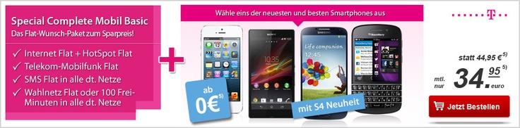 Telekom Special Complete Mobil Basic mit Galaxy S4, iPhone 5, BlackBerry Q10 oder Xperia Z ohne Anzahlung für 34,95€