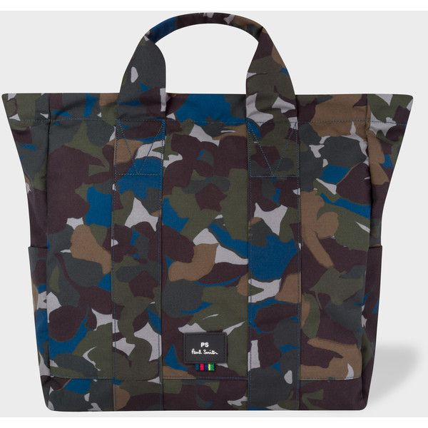 PS Paul Smith Men's Camouflage Canvas Tote Bag ($275) ❤ liked on Polyvore featuring men's fashion, men's bags and multicolour