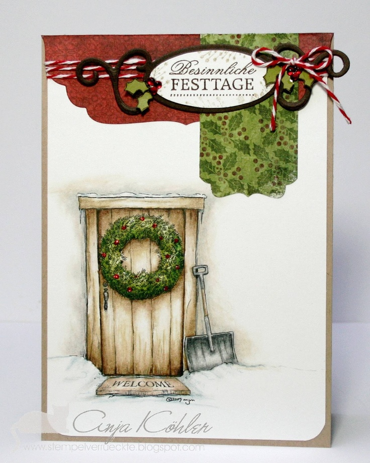 Image from Mo's Digital Pencil: Door with wreath  (coloured with Prismacolor Pencils)