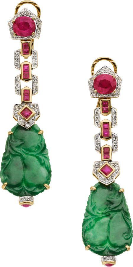 Ruby, Diamond, Jade, Gold Earrings