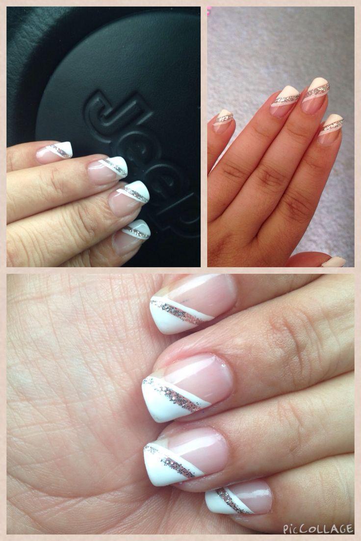 Diagonal gel french manicure!!