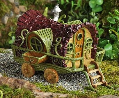 Fairy Garden Gypsy Wagon - $9.99 www.teeliesfairygarden.com This is best place for little baby fairies to play. They are going to love this. #fairygarden
