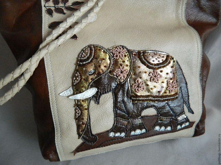 Купить Сумка с аппликацией Индийский слон бежевая - коричневый, рисунок, сумка…