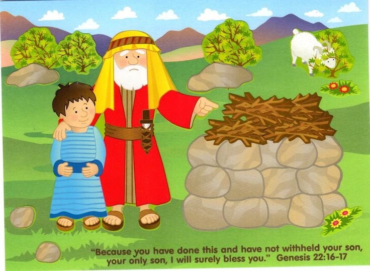 "Make a scene from the story of Abraham and Isaac. Verse: ""Because you have done this and have not withheld your son, your only son,..."