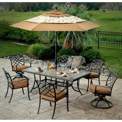 Willowbrook Collection 7 piece Dining Set with Porcelain Top Table by Agio  International12 best Patio images on Pinterest   Dining sets  Costco and  . Agio Spring Sling 7 Piece Dining Set. Home Design Ideas