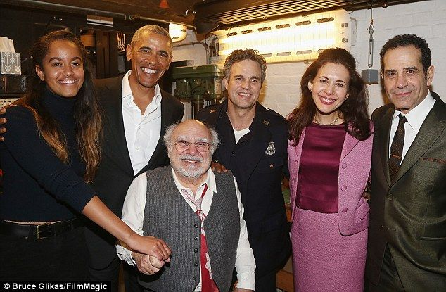 (L-R) Malia, Barak, Danny DeVito, Mark Ruffalo, Jessica Hecht and Tony Shalhoub pose backs...