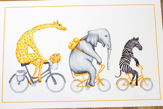 Giraffe elephant and zebra on yellow bicycle by AmelieLegault