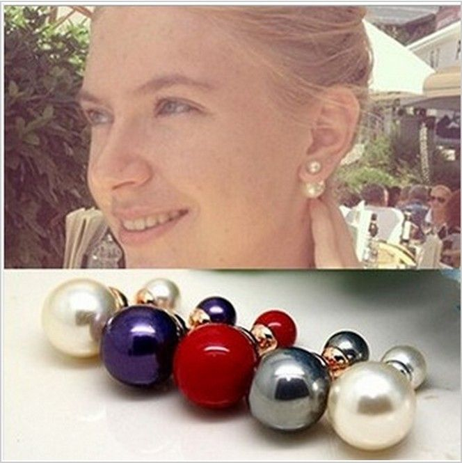 Free Shipping Fashion Paragraph Earrings 2014 New Double Side Big Shining Pearl Stud Earrings ZC4P2C (minimal mixed style $5)