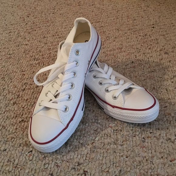 Ladies White Converse Size 8 White; original style; never worn Converse Shoes Athletic Shoes