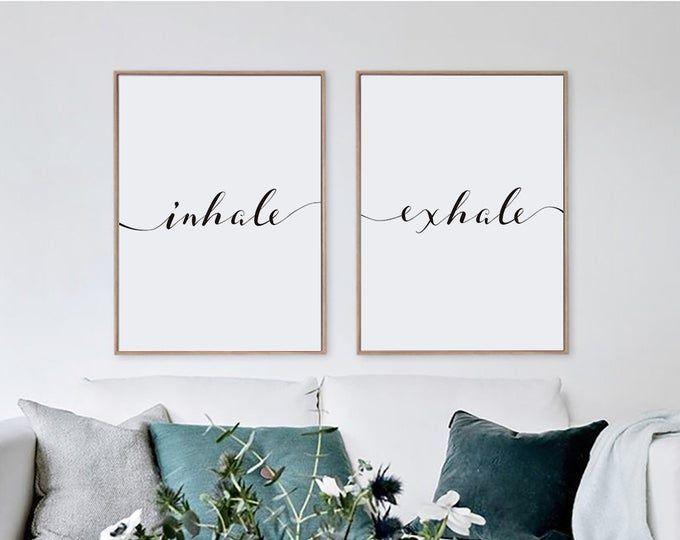 Inhale Exhale Printable Minimalist Typography Art Yoga Etsy Etsy Wall Art Yoga Wall Art Word Wall Art