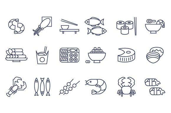 Seafood icons, thin line style, flat by TopVectors on Creative Market http://crtv.mk/a0G2c