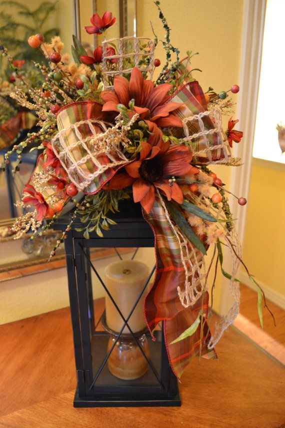 Fall Lantern Swag With Plaid Ribbon by kristenscreations on Etsy, $32.00