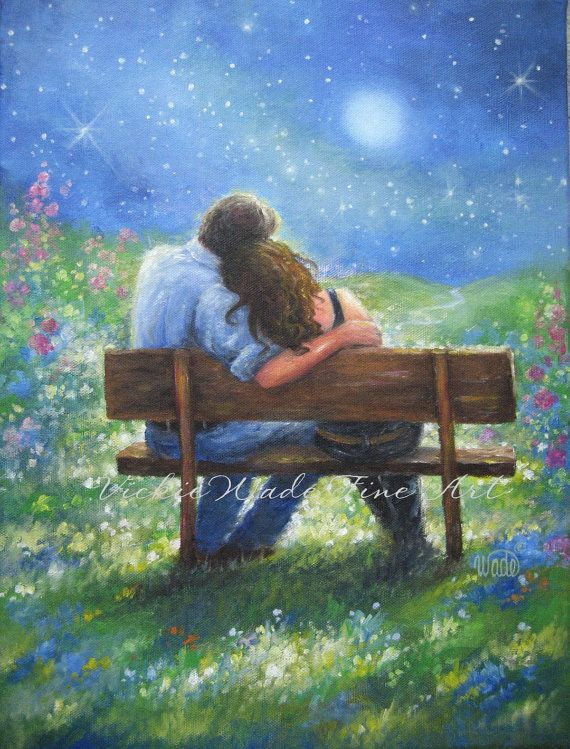 Loving Couple Art Print lovers in moonlight by VickieWadeFineArt, $26.00