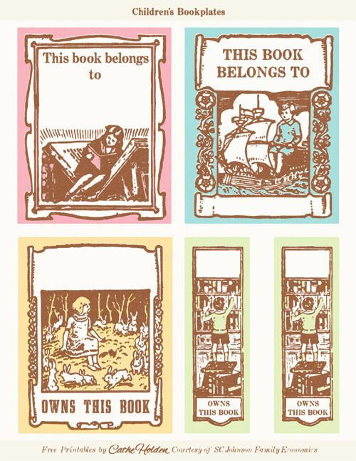 guiltless reading: Vintage children's bookplates {free printable}