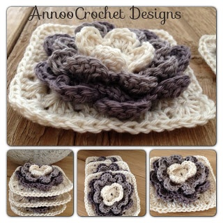 I think the shades of grey are beautiful... Annoo's Crochet World: Water Lily Granny Free Pattern