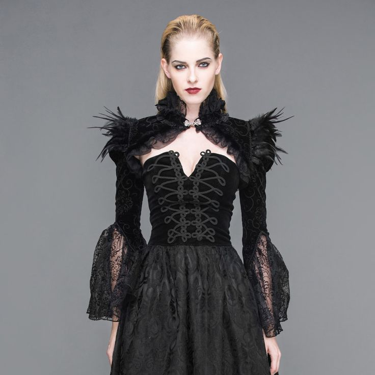 Devil Fashion Long Sleeve Short Jacket Black Sexy Feather Coat