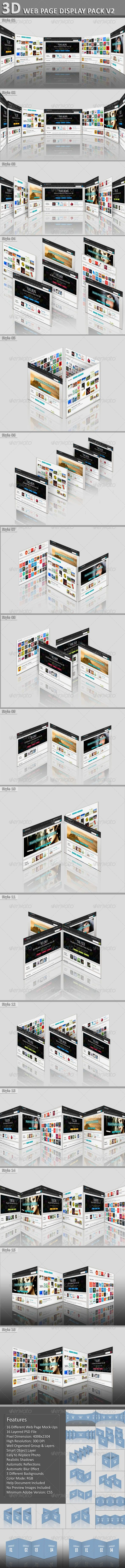 3D Web Page Display Pack V2: The pack includes 16 different web page display mock-ups. 16 PSD file is included in the package. Ad