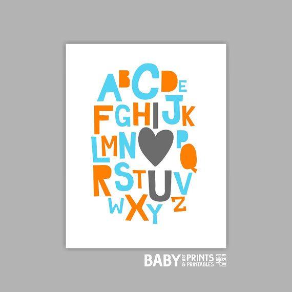 Baby boy nursery art print Alphabet, I love you 11x14 aqua and orange on Etsy, $19.00