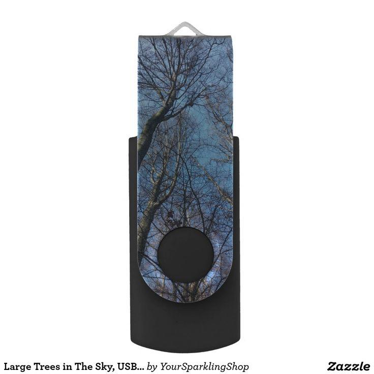 Large Trees in The Sky, USB Flash Drive, Nature Swivel USB 2.0 Flash Drive