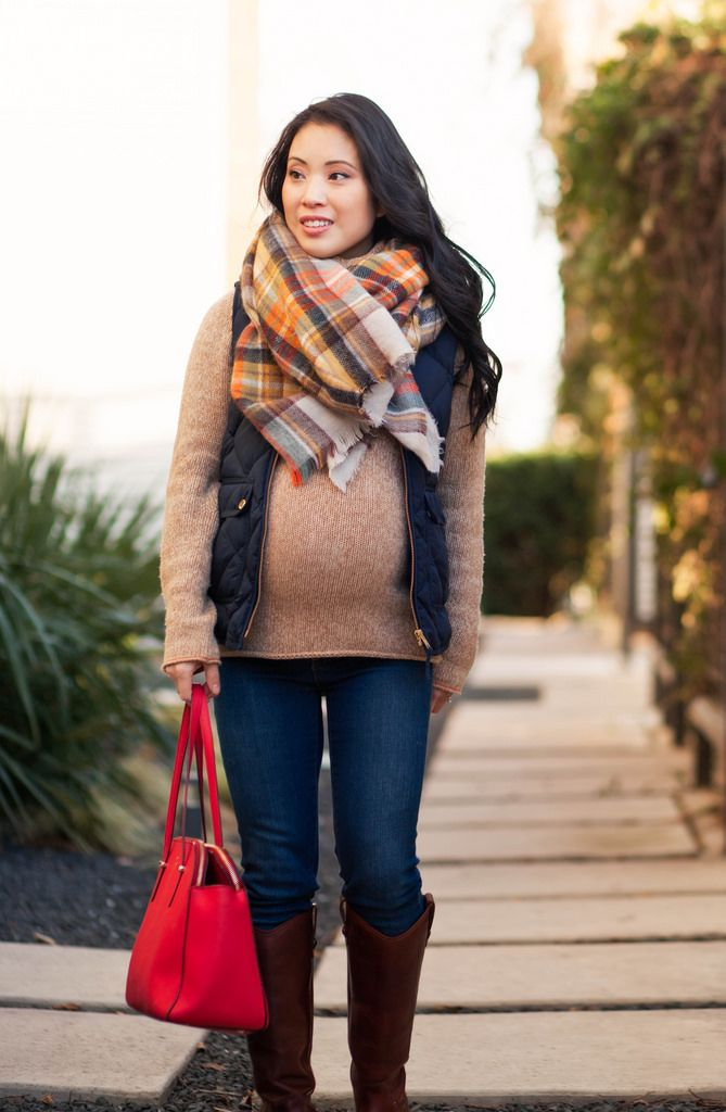 cute & little blog | petite fashion maternity | zara plaid blanket scarf, j. crew quilted navy puffer excursion vest, frye riding boots, kate spade red tote | fall winter outfit