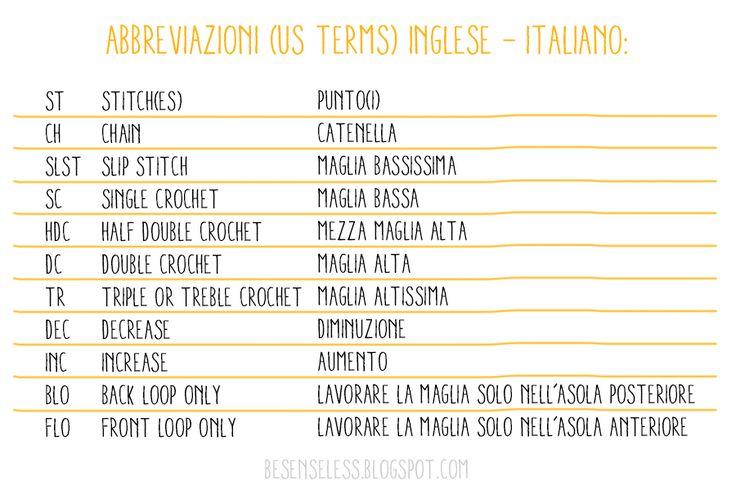 Abbreviazioni e termini uncinetto e amigurumi. Traduzione inglese - italiano