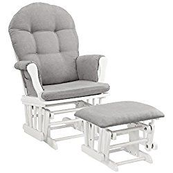 Padded Arms and Storage Pockets Nursery Glider with Ottoman with Gray Cushion by Angel Line