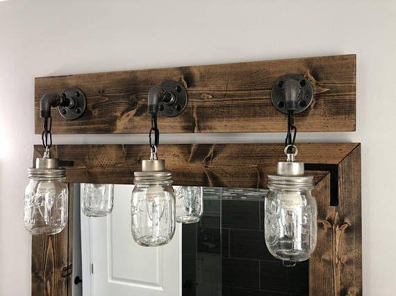 Espresso Vanity Light Fixture Country Style Mason Jar Light Wall