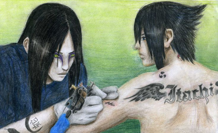 Orochimaru making Sasuke's tatoo (drawed by me)