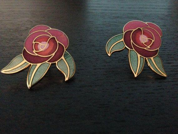 Laurel Burch Earring/ Deco Rose/ 60's Earring on Etsy, $30.00