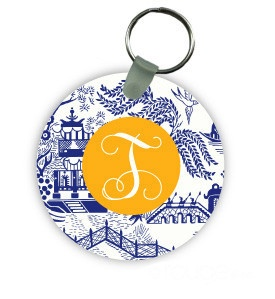 Monogram Key Ring - Chinoiserie. Ever notice how many darn keys teachers have to lug around all day?! Let them do it in style with our new Monogram Key Rings. Tons of color & design options. {$17.95}. Great for end-of-year gifts for teachers, Sweet 16, & graduation (to hold new dorm room keys!).