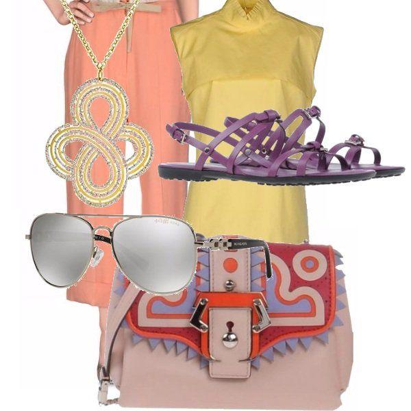Look+fresco+nei+tessuti+e+nei+colori:+culotte+pesca,+blusa+coreana+lemon,+sandalo+melanzana,+mini+tracolla+etnica,+occhiali+style+classic+e+ciondolo+croce.