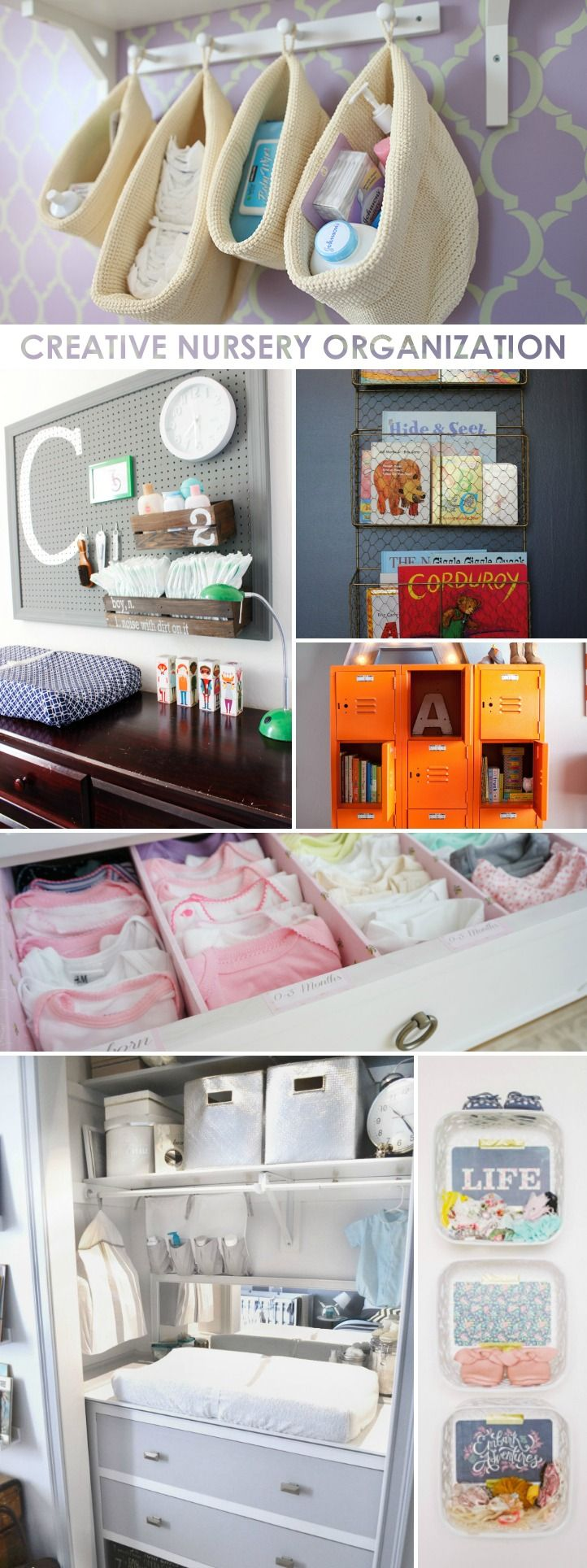 Creative Nursery Organization Ideas | ProjectNursery.com. I like the mirror behind the changing table.