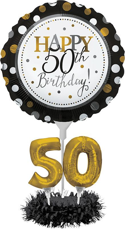 Features:  -Air filled balloons, no helium required.  -Perfect addition to your 50th birthday party décor.  -Includes 1 round balloon, 2 small balloons, 1 stick, 1 base, 1 fringe.  Style: -Contemporar