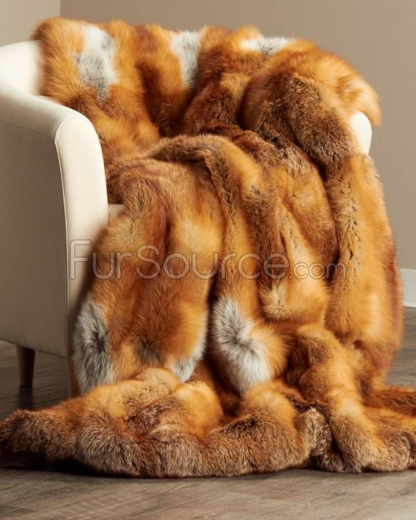 Real Fur Blankets and Throws | Full Pelt Red Fox Fur Blanket / Fur Throw