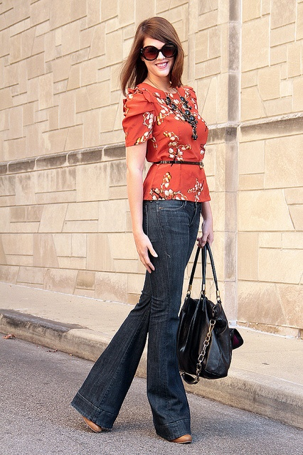 Vintage inspired blouse + wide leg dark jeans {love the shape of the blouse with the jeans}
