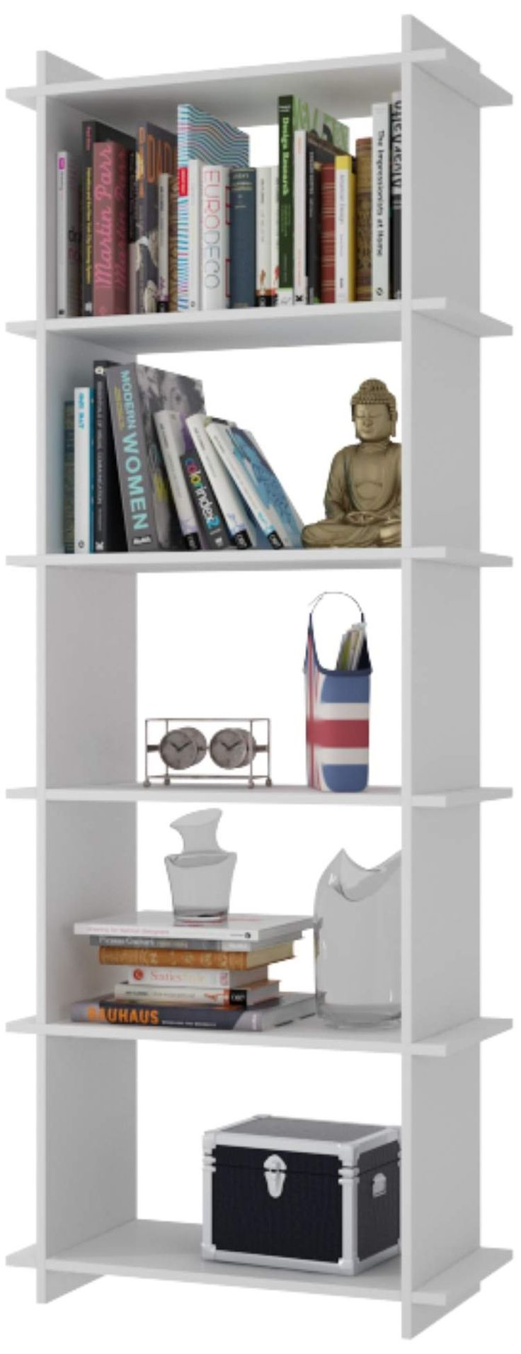 Gisborne 5-Shelf White Wood Bookcase - Style # 1J346